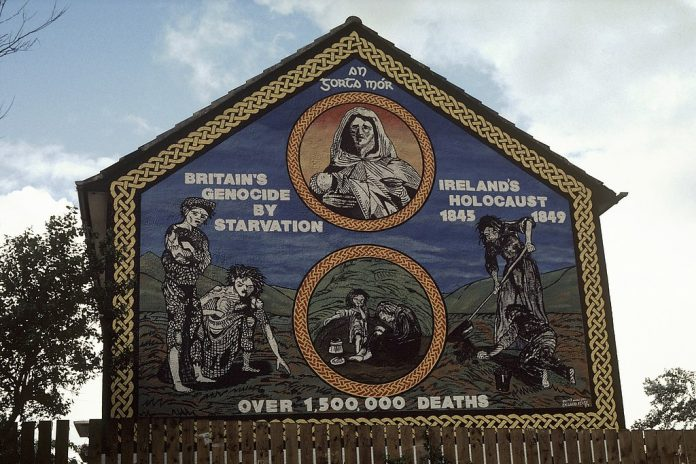 Irelands Holocaust 1845–1849, over 1500000 deaths mural on the Ballymurphy Road - Belfast - An Gorta Mór - Britains genocide by starvation