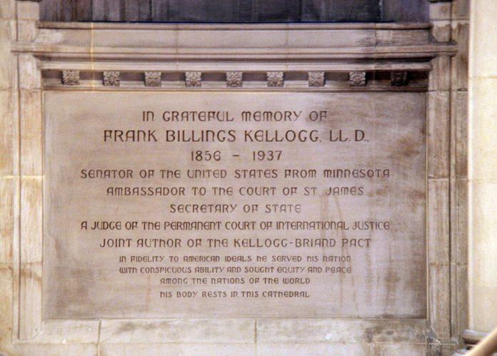 Tomb of Frank Kellogg - North Nave Bay J - National Cathedral - DC