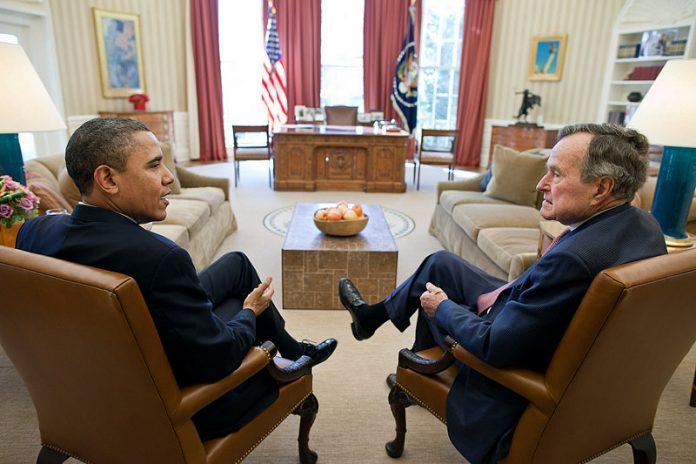 Barak Obama and George H W Bush