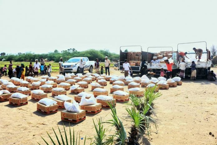 Emirates Red Crescent distributes 16 tons of relief materials among displaced families in Yemen