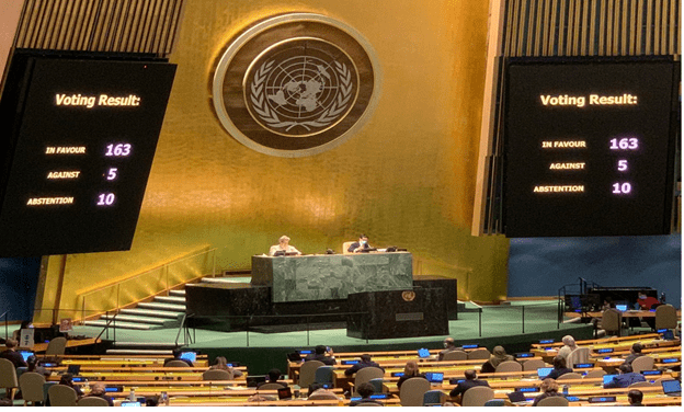 FM Al-Maliki welcomes UNGA voting in favor of two pro-Palestinian resolutions