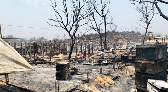UN teams assisting tens of thousands of refugees, after massive fire rips through camp in Bangladesh