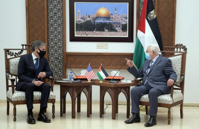 Palestinian president discusses latest efforts to solidify ceasefire with US State Secretary