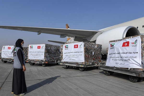UAE sends 47 metric tons of medical supplies to Tunisia